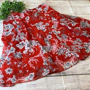 Flowy Midi Summer Floral Skirt